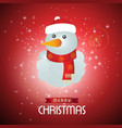 christmas card with snow man and red snowy vector image vector image