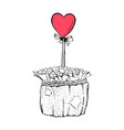 coffee pot with heart on stick vector image vector image