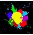 colorful splashesh isolated on black background vector image vector image