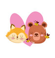 cute cartoon animal adorable little bear bee fox vector image vector image