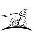 dog cat and bird line art vector image