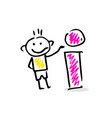 drawing of a stick figure with info sign vector image vector image
