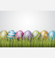 easter background with painted 3d realistic eggs vector image