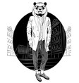 fashion hipster panda on city background vector image vector image
