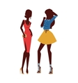 Fashion looks pure beauty two girls colored vector image