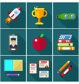 flat icons of elements objects for education vector image vector image