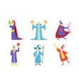 flat set gray-bearded wizards cartoon vector image vector image