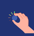 hand turns button low high levels volume vector image