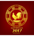 Happy new year 2017 chinese art style red rooster vector image vector image