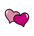 hearts together to love and romantic symbol vector image vector image