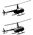 helicopter silhouette and sketch vector image vector image