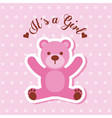 its a girl pink bear card invitation baby shower vector image vector image