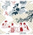 japanese pattern tea ceremony women card vector image