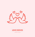 kissing doves two flying birds in vector image vector image