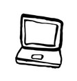 laptop grunge icon handdrawn ink vector image
