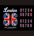 london set number textured united kingdom vector image