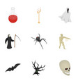 magic halloween icon set isometric style vector image