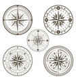 marine compass line art set vector image