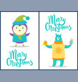 merry christmas animals set vector image vector image