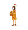 native american indian girl in traditional indian vector image vector image
