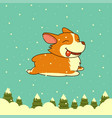 new year dog on winter forest background vector image vector image