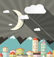Night Landscape Town or City in Flat Design Retro vector image