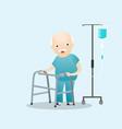 patient standing with intravenous saline solution vector image vector image