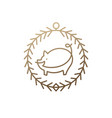 pig icon frame vector image vector image