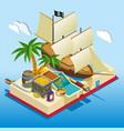 pirate elements isometric game composition vector image vector image