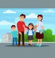 portrait of happy family mother father son and vector image vector image