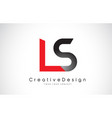 red and black ls l s letter logo design creative vector image vector image
