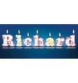 RICHARD written with burning candles vector image vector image