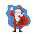 santa claus with a bag gifts waving his hand vector image