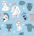 seamless pattern antique statues ancient greek