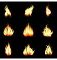 Set of realistic fire vector image