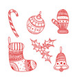 set of red christmas decorative symbols vector image vector image