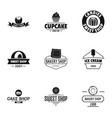 sweet shop logo set simple style vector image