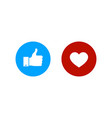 thumbs up and heart iconlike and heart buttons vector image vector image