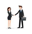 two business partners shaking hands vector image