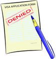 visa application form with denied stamp vector image