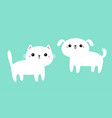 white cat kitten kitty dog puppy icon set cute vector image vector image