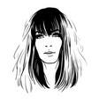 woman portrait digital sketch hand drawing vector image