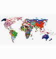 world map and all national circle country flags vector image vector image