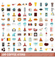 100 coffee icons set flat style vector image