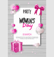 8 march day party invitation womens day vector image