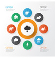 air icons set with storm light light snow shower vector image vector image
