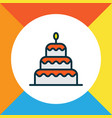 birthday dessert icon colored line symbol premium vector image