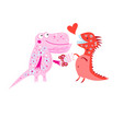 bright cheerful card with loving dinosaurs vector image vector image