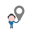 businessman character holding map pointer color vector image vector image