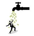 businessman standing under water tap flows vector image vector image